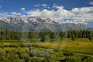 Clouds Raking Grand Teton Peak Stock Photography - Image: 16193122