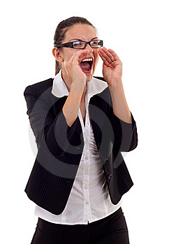 Business Woman Shouting Royalty Free Stock Photography - Image: 16193127