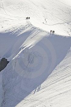 Descent Of The Aiguille Du Midi Stock Image - Image: 16193721