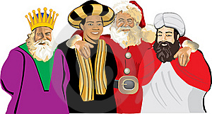Santa Claus With Three Wise Men Stock Photo - Image: 16193990