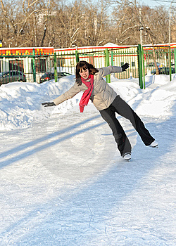 Girl On Skate Rink Royalty Free Stock Images - Image: 16196419
