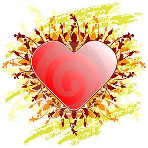 Valentine's Day Greeting Card With Flowers Heart On Grunge Backg Stock Photo - Image: 1623330