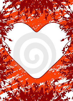 Valentine's Day greeting card with flowers and heart on grunge b Royalty Free Stock Image