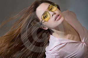 Young woman with waving hair Stock Image