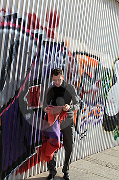 Man Near Graffity Wall Stock Images - Image: 16200314