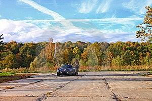Beautiful Girl Standing Near Sport Auto Under Sky Stock Photo - Image: 16203570