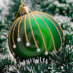 Christmas Ball On Green Garland Stock Images - Image: 16208074
