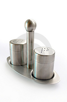 Stainless Steel Set Of Salt And Pepper Royalty Free Stock Images - Image: 16208119