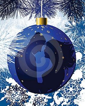 Christmas Ball With Kissing Couple. Royalty Free Stock Image - Image: 16210406
