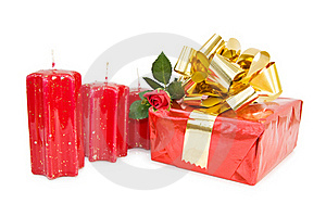 Festive Gift With Red Rose Stock Photos - Image: 16210493