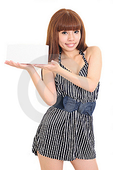 Beautiful Woman Person With Blank Business Card In Royalty Free Stock Image - Image: 16212346