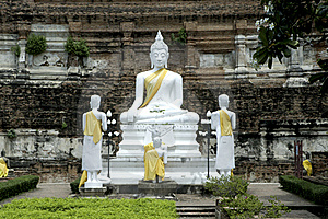 Old White Buddha In Ayuttaya Temple. Royalty Free Stock Photos - Image: 16216358
