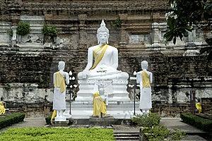 Old White Buddha In Ayuttaya Temple. Royalty Free Stock Photos - Image: 16216358