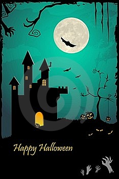 Haunted Halloween Castle Stock Photography - Image: 16216672
