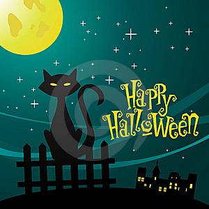 Illustration Of A Cat In The Moonlight Stock Photography - Image: 16219432