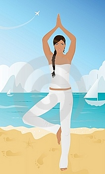 Yoga On The Beach Royalty Free Stock Photos - Image: 16220668