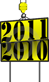 Vector New Years Crane Sign 2011 Replacing 2010 Stock Photography - Image: 16221752