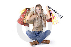 Sexy Blond Woman With Shopping Bags Stock Photography - Image: 16223842