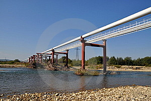 Transition Of Two Pipelines Through Mountain Small Stock Photography - Image: 16231062