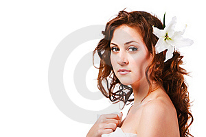 Charming Young Girl With A Flower Royalty Free Stock Images - Image: 16231409