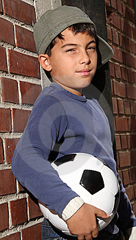 Male Kid With A Football Royalty Free Stock Images - Image: 16232079