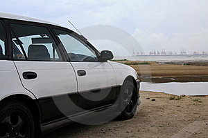 Car Is Facing A Container Terminal Royalty Free Stock Photography - Image: 16235087