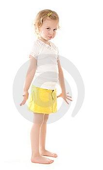 Fretful Little Girl Standing On White Background Stock Image - Image: 16235421