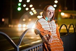 Teenage Gang Member At Night Stock Images - Image: 16236904