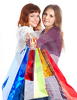 Two Teen Girls With Bags Stock Photography - Image: 16237362