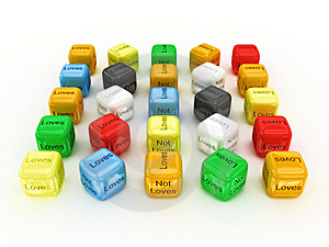 Dice Loves And Not Loves - Your Choise. 3D Stock Photography - Image: 16239712