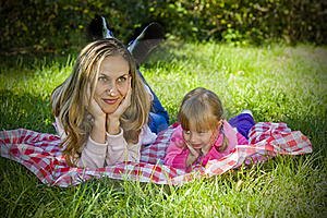 A Little Girl With Her Mother Royalty Free Stock Photography - Image: 16241077