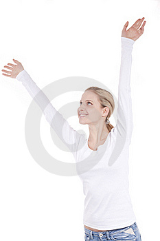 Young Woman With Arms Raised Stock Photos - Image: 16246323