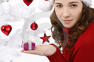 Young Woman Wearing Santa Hat Royalty Free Stock Photography - Image: 16247117