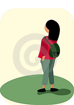 Small Girl With A Backpack Stock Photography - Image: 16247972