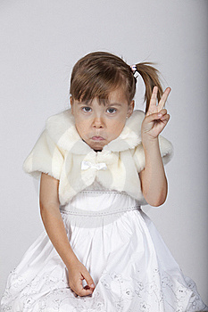 Very Funny Image Of A Shy Little Girl Royalty Free Stock Photography - Image: 16248787