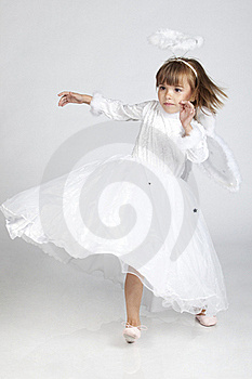 Cute Little Girl Dressed As An Angel Ready To Fly Stock Photo - Image: 16248940