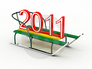 Sled With The Numbers 2011. 3D Royalty Free Stock Photography - Image: 16249817