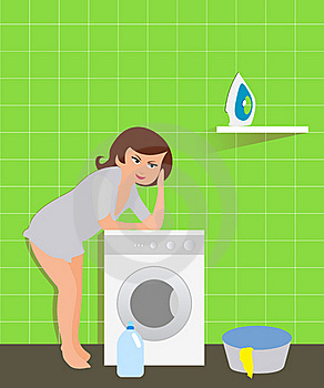 Housewife In The Laundry Stock Photo - Image: 16251320