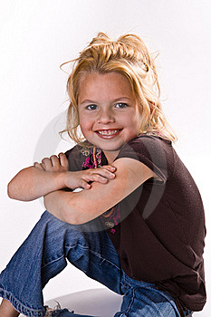 Cute Little Girl With Her Arms Crossed Stock Image - Image: 16252601