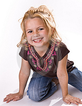 Adorable Smiling Little Girl On Her Knees Stock Image - Image: 16252621
