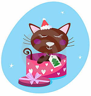 Brown Christmas Cat In Pink Gift Box Royalty Free Stock Image - Image: 16253326