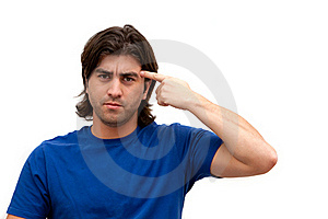 Man Pointing Finger At Head Stock Photography - Image: 16254102