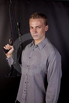 Serious Big Gun Stock Photo - Image: 16254450