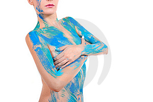 Part Of Woman's Body In Broad Patterns Of Paint Royalty Free Stock Photos - Image: 16256028