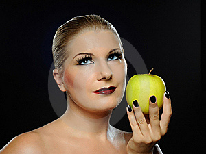 Beautiful Woman With Bright Make-up,apple Royalty Free Stock Photo - Image: 16261695