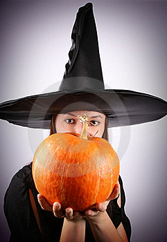 Witch With A Pumpkin Stock Images - Image: 16264874
