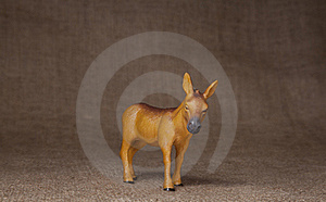 Toy Donkey Standing On Hessian (burlap) Cloth Royalty Free Stock Photos - Image: 16272918