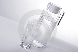 Pitcher And Glass With Ice Cubes Of Mineral Water Stock Image - Image: 16273801