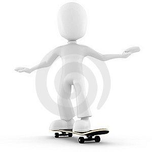 3d Man Extreme Skateboard Isolated On White Royalty Free Stock Photos - Image: 16274698