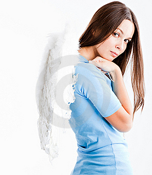 Young Woman With White Wings Royalty Free Stock Photography - Image: 16279637